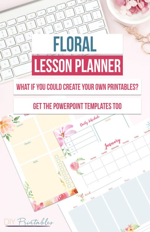 Floral lesson planner and PowerPoint Templates