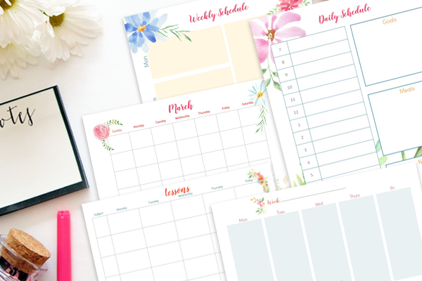 Floral Free Printable Homeschool Planner and powerpoint templates to customize