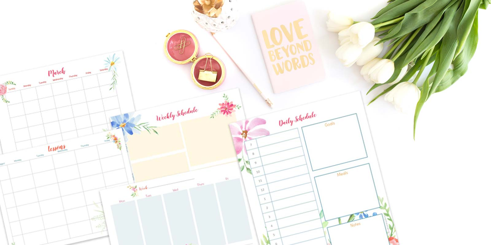 Floral Lesson Planner that come with the PowerPoint Templates on a desk with a notebook, pencil and flowers.